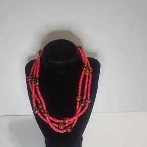 Seed Bead Necklace Pink And Dark Red Spring Ring C